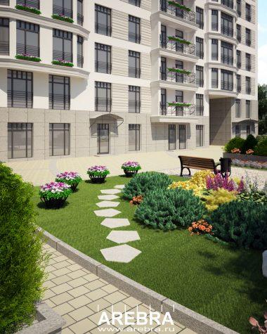 Дизайн проект придомовой территории по адресу СПб, ул.Чапаева 16