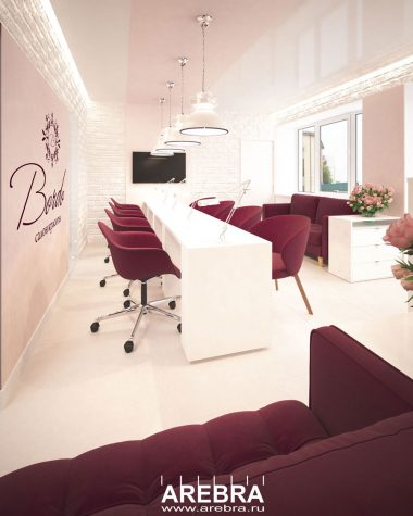 Дизайн проект интерьера салона красоты «БОРДО» в Уфе