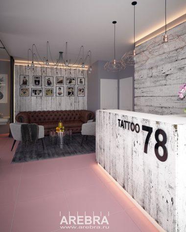 Дизайн проект тату салона «78» в г. Уфа, пр.Октября 49