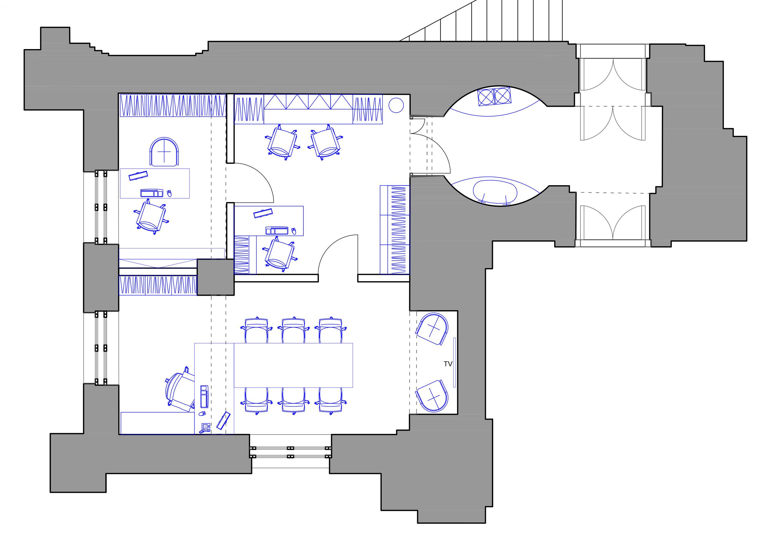 Дизайн проект интерьера кабинетов и тамбура в Большой Хоральной Синагоге Санкт Петербурга.