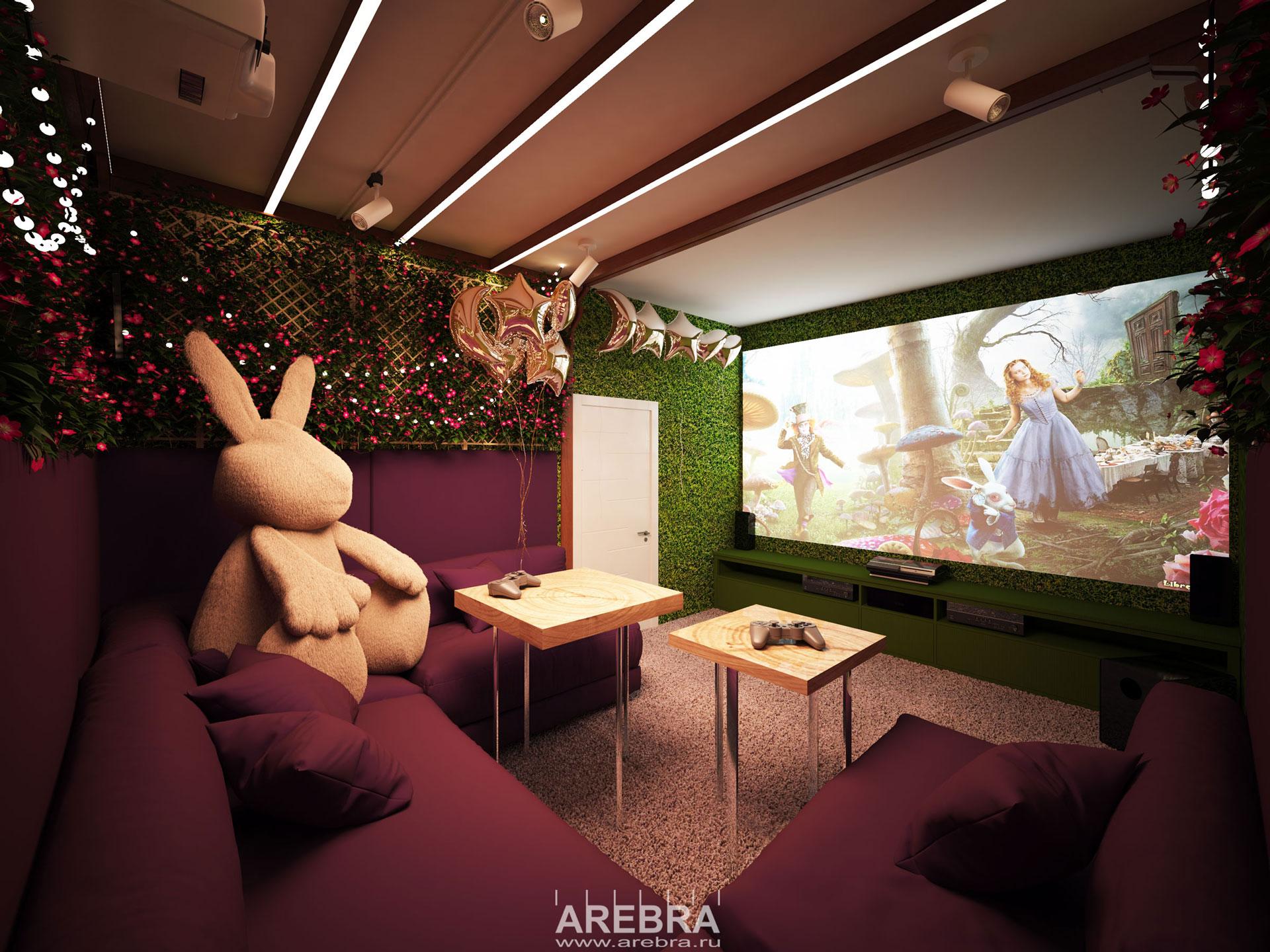 Дизайн проект интерьера частного кинотеатра в г.Тихвин