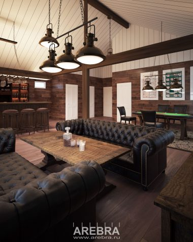 Дизайн проект интерьеров частного загородного клуба под Всеволожском общей площадью 100кв.м.